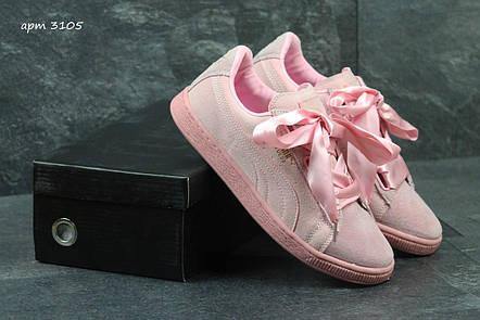 Кроссовки женские Puma Suede Bow розовые, фото 2