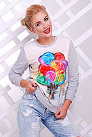 Женский яркий свитшот с принтом Cotton ТМ  FashionUp 42-50 размеры