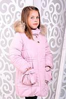 Красивая детская  куртка для девочки Риза розовый