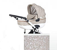 Детская универсальная коляска 2 в 1 Adbor Ottis 02, белая кожа/бежевый
