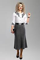 Женская юбка с завышенной талией 2001 цвет серый размер 52-58