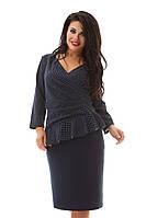 Платье синее с баской в горошек большие размеры 48-62