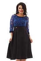 Милое ажурное синее платье большого размера 48-56