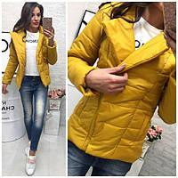 Демисезонная женская куртка внутри синтепон 200, цвет желтый