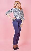 Лосины синего цвета с кожаными карманами, фото 1