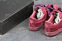 Кроссовки женские Puma Suede Bow бордовые 37,41, фото 3