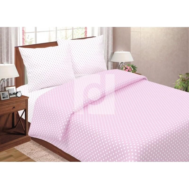 Постельное белье Горошек розовый поплин ТМ Царский дом  (Семейный)