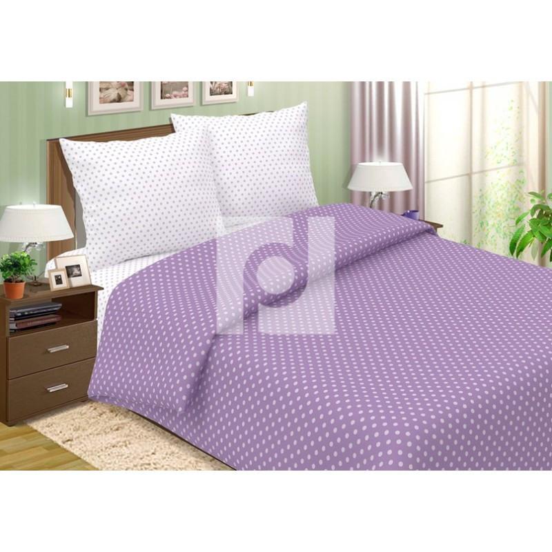 Постельное белье Горошек фиолетовый поплин ТМ Царский дом  (Евро)