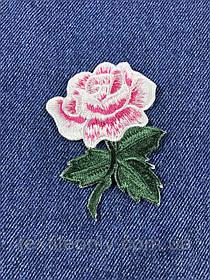 Нашивка Роза s цвет белый с розовым 62x75 мм