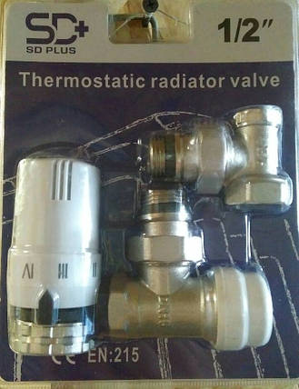 """Комплект кранов радиаторных угловых 1/2"""" с терморегулятором SD+ , фото 2"""