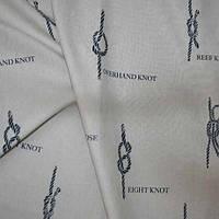 Ткань для штор в морском стиле морской узел синяя