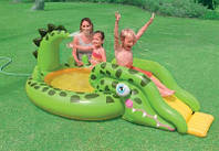 Надувной бассейн с горкой Крокодил Intex 57132
