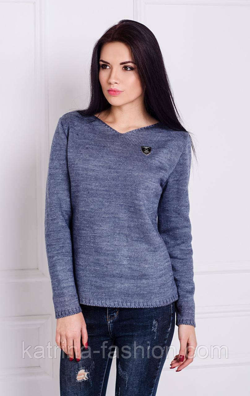 Женский теплый вязаный свитер удлиненный сзади (в расцветках)