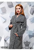 Элегантное пальто букле с поясом, батал 50-56