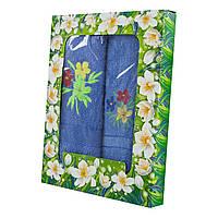 Синий набор махровых полотенец Цветник банное и для лица