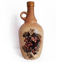 """Декор  бутылки """"Виноградное вино"""", подарочная бутылка для домашнего вина. Ручная работа"""