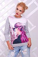 Женский свитшот с ярким принтом Cotton ТМ  FashionUp 42-50 размеры