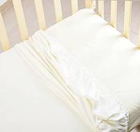 Детская простынь на резинке 60*120см, цвет белый, трикотаж 100% хлопок