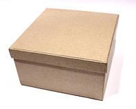 Коробочка квадратная большая, папье-маше, 13х13х7см