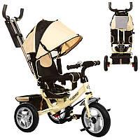 Велосипед M 3113-7A три колеса резиновых (12/10), колясочный, свободный ход колеса, тормоз, подшипник, бежевый