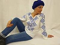 """Блузка женская нарядная вышитая с длинным рукавом """"Кружева"""""""