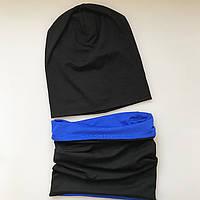 Демисезонный комплект: шапочка бини со снудом, унисекс. Черный с синим ОГ 52-54 см.