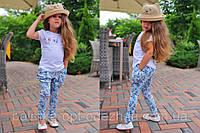 """Стильные детские летние штанишки с мотнёй """"Цветочки"""" в расцветках, фото 1"""