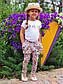 """Стильные детские летние штанишки с мотнёй """"Цветочки"""" в расцветках, фото 2"""