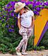 """Стильные детские летние штанишки с мотнёй """"Цветочки"""" в расцветках, фото 7"""