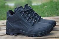 Мужские кожаные зимние ботинки Ecco черного цвета
