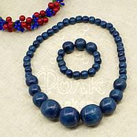 Набор бусы + браслет из дерева синие 16.01.004
