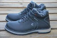 Мужские зимние кожаные ботинки Ecco черного цвета