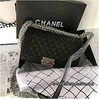Сумка клатч Шанель Бой натуральная кожа в черном цвете, фурнитура старое  серебро 36de3dffff6