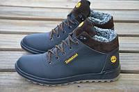 Мужские зимние кожаные ботинки Timberland B-22 черного цвета