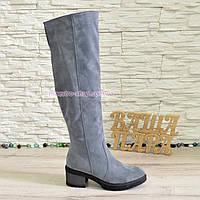 Ботфорты демисезонные замшевые женские на невысоком каблуке, цвет серый., фото 1