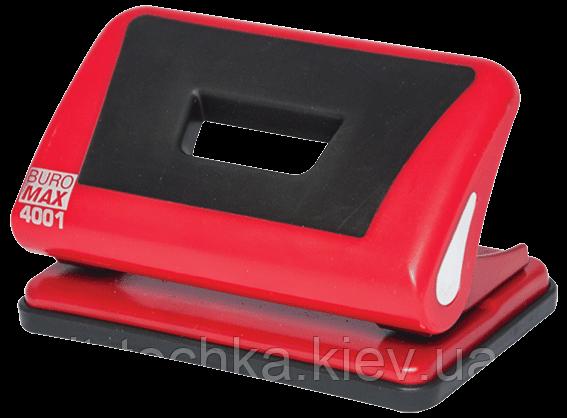 Дырокол пластиковый с резиновой вставкой, 10л., красный bm.4001-05