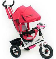 Детский трехколесный велосипед Азимут Crosser T1 фара, надувные колеса, красный