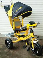 Детский трехколесный велосипед Азимут Crosser T1 фара, надувные колеса, желтый