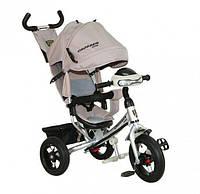 Детский трехколесный велосипед Азимут Crosser T1 фара, надувные колеса, серый
