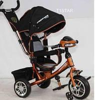 Детский трехколесный велосипед Азимут Crosser T1 фара, надувные колеса, коричневый