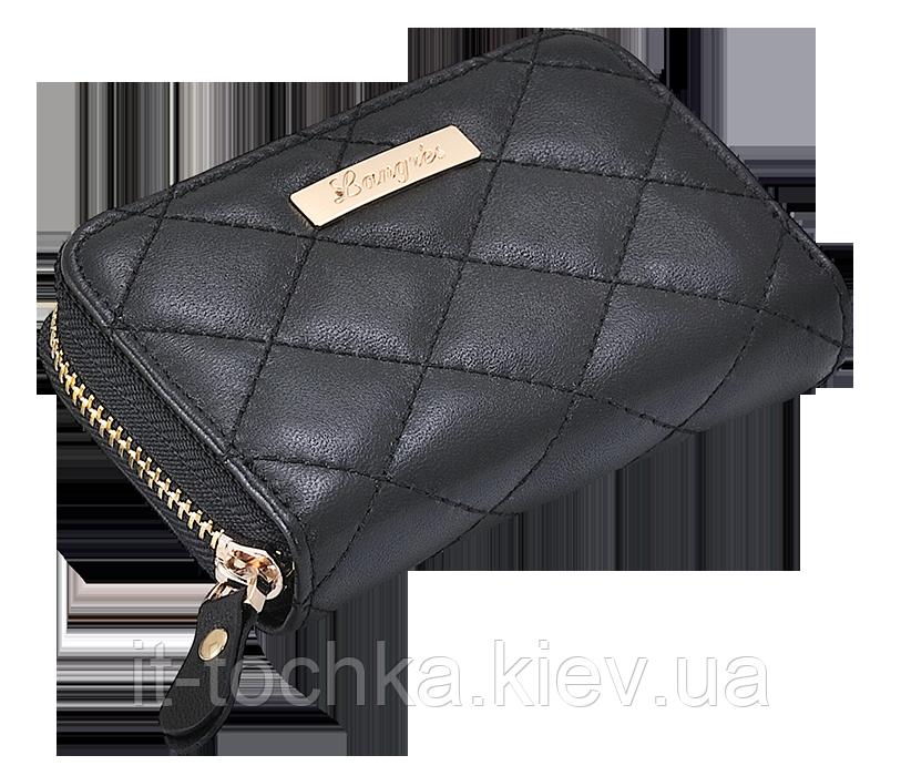 Лакированная кожаная визитница langres ls.820302-01 черная tracery