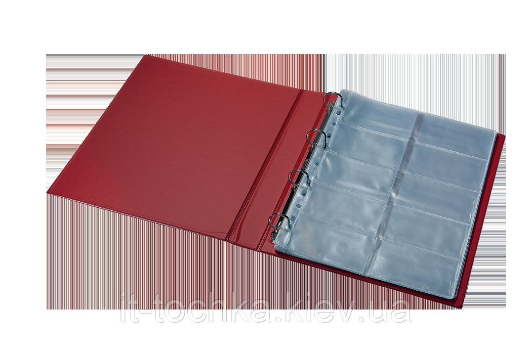 Визитница для 400 визиток на кольцах panta plast 0304-0009-10 винил, бордовая