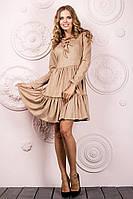 """Расклешенной замшевое мини-платье """"Нана"""" с длинным рукавом и шнуровкой на груди (4 цвета)"""