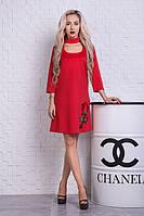 Красивое платье трапеция с вышивкой