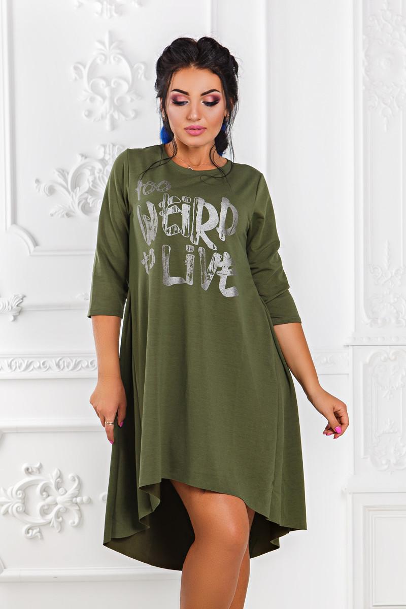 ДР1518 Платье ассиметричное размеры 42-56