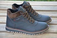Мужские зимние кожаные ботинки Columbia черного цвета