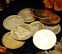 Монета алтарная из желтого метала Шива 3см.
