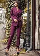 Костюм женский, стильный, брючный. Бордовый. 4 цвета.