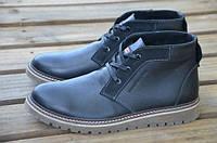 Мужские зимние кожаные ботинки Tommy Hilfiger черного цвета