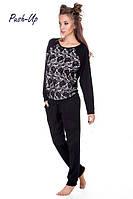Черный прогулочный костюм с цветочным принтом Suavite 431811